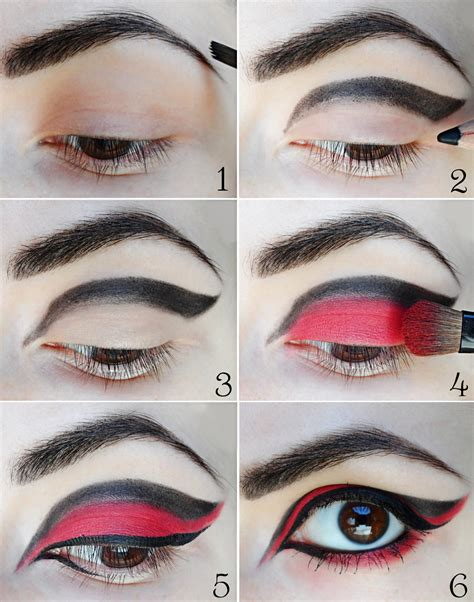 Eyeliner Tutorial For Halloween | red black halloween make up tutorial january girl