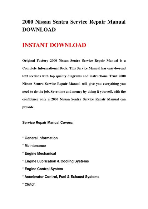 2000 nissan sentra service repair manual download by hhsgefbhse issuu 2000 nissan sentra service repair manual download by hhsgefbhse issuu