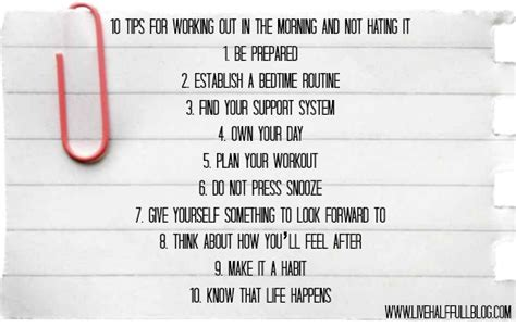 10 Tips For An Effective Work Out by 10 Tips For Working Out In The Morning And Not Hating It