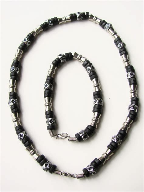 mens beaded jewelry salem black surfer style beaded necklace bracelet s