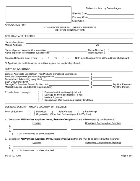 general liability release form template free of car