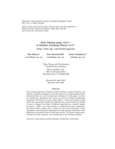 (PDF) Data Mining Using a Machine Learning Library in C++