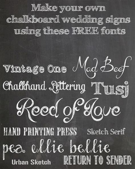printable chalk fonts free chalkboard fonts for wedding signs printable