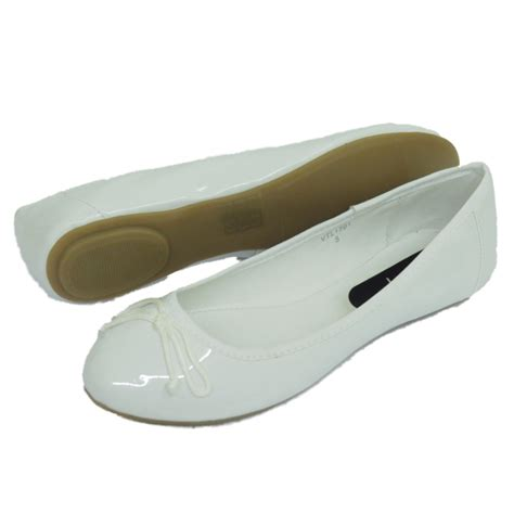white flat ballet shoes womens white dolly flat ballet patent bow