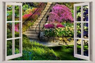 Home Decor Wall Murals Garden View 3d Window Decal Wall Sticker Home Decor Mural Flowers Ebay