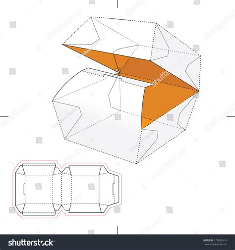 layout in vector squared fast food box with blueprint layout stock vector