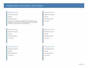 medication information and history form printable