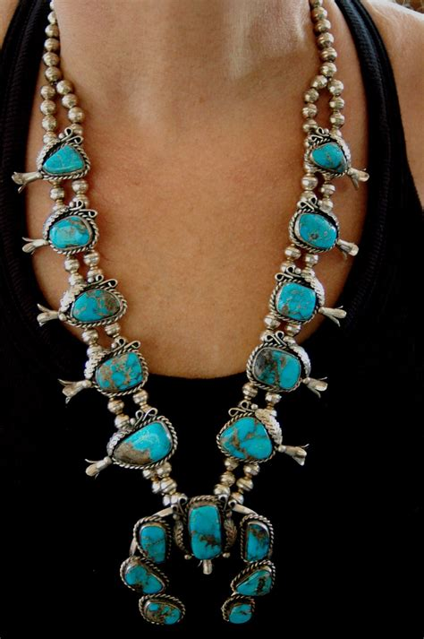 beautiful navajo turquoise squash blossom necklace