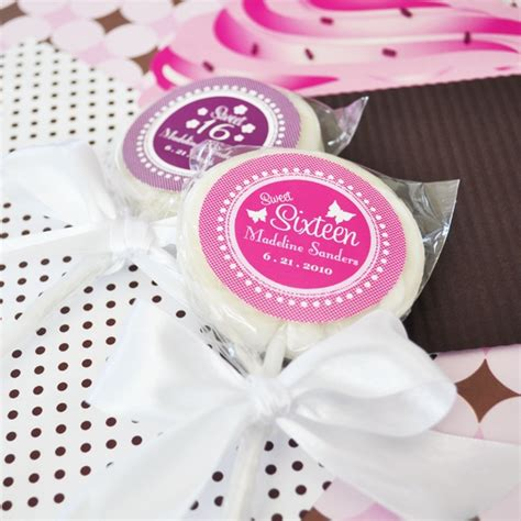 Sweet Sixteen Giveaways - personalized sweet 16 or 15 lollipop favors