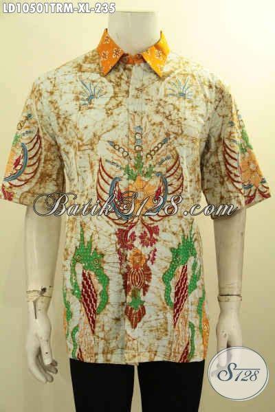 Baju Cowok Pria Lengan Pendek Motif Batik Green Mix Orange produk baju batik pria kekinian hem batik halus