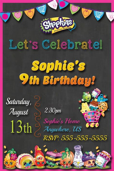 80 Best Images About Shopkins Party Ideas On Pinterest Birthday Cakes Birthdays And Birthday 9th Birthday Invitation Templates