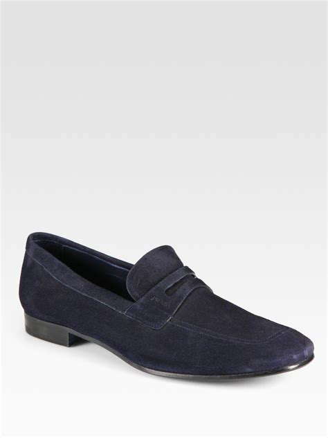 prada blue loafers prada suede loafers in blue for lyst