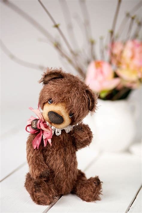 Handmade Mohair Bears - artist ooak handmade mohair teddy stick by softlybearpaw