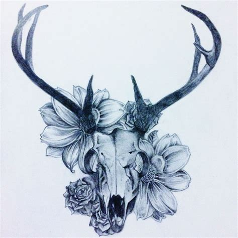 skull and flower tattoos deer skull flowers my he deer