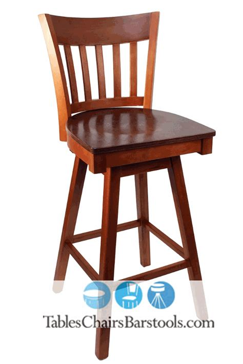 wood swivel bar stools with backs gladiator cherry vertical back wooden swivel bar stool