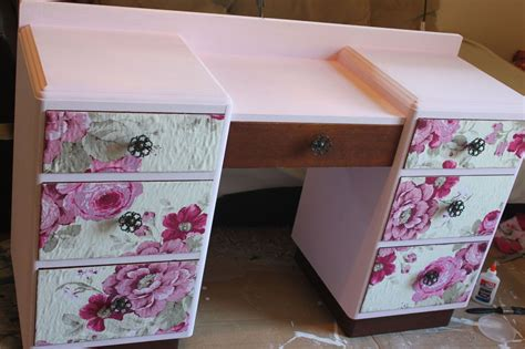 Decoupage Furniture With Fabric - hometalk vintage vanity floral makeover