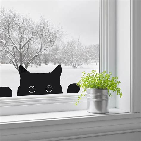 Cat Doors For Windows Decor Peeping Cat Window Sticker By Nutmeg Notonthehighstreet