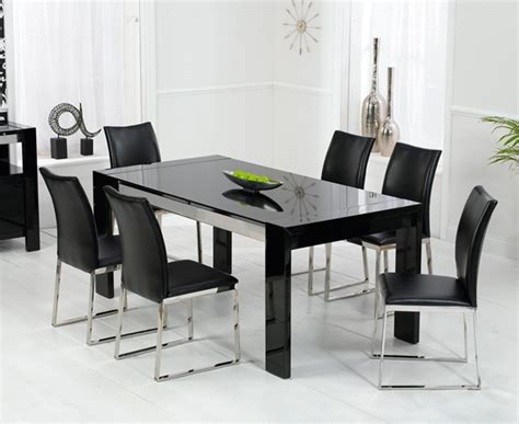 Dining Table And Chairs Black Scala Black Gloss Dining Table Oak Furniture Solutions