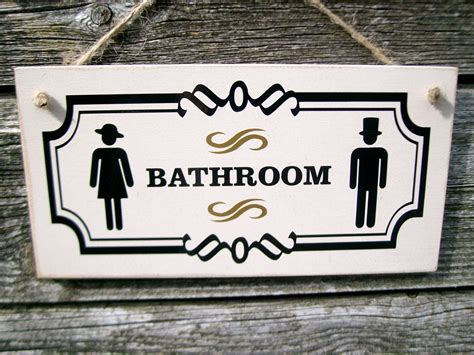 bathroom door signs vintage bathroom door sign with vintage male female symbols