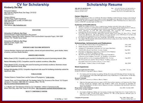 Scholarship Qualification Exles Resume For College Scholarship