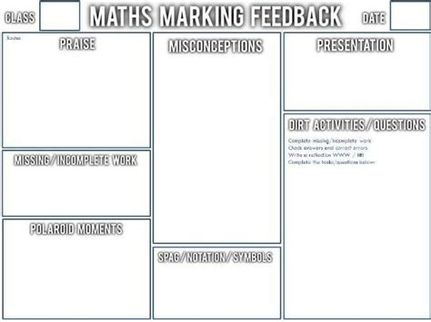 whole class feedback quot crib sheet quot for maths by swilliams6