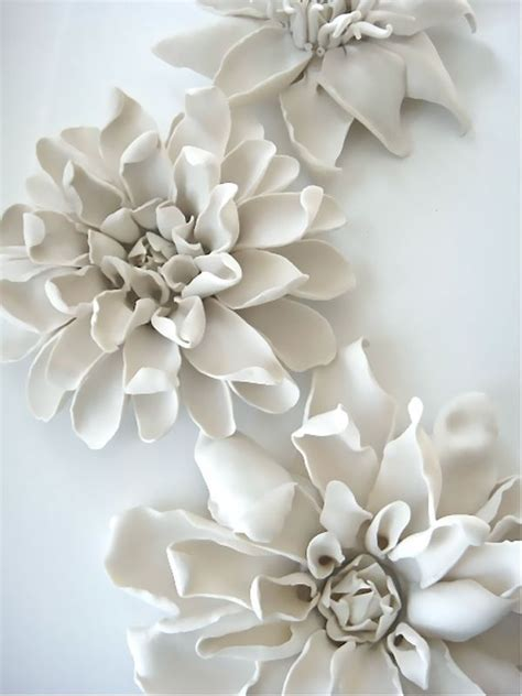 Ceramic Wall Flower Decor by Porcelain Clematis For Table Wall Or Ceiling Firing And