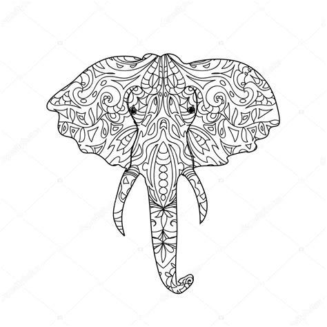 Elephant head zentangle — Stock Photo © Nuarevik #74829699