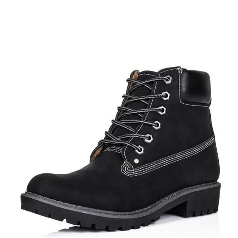 buy outlandish flat lace up worker ankle boots black