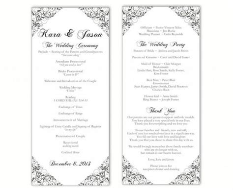 Wedding Program Template Diy Editable Text Word File Download Program Gray Silver Program Floral One Page Wedding Program Template 2