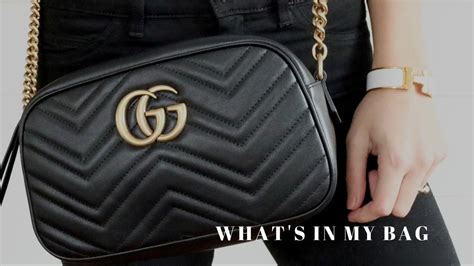 Sling Bag Gucci Bee Gg 8062 what s in my bag gucci marmont review necessary