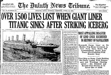 newspaper layout disasters coverage of the titanic disaster news tribune attic