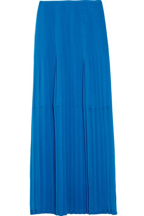 catherine malandrino pleated chiffon maxi skirt in blue lyst