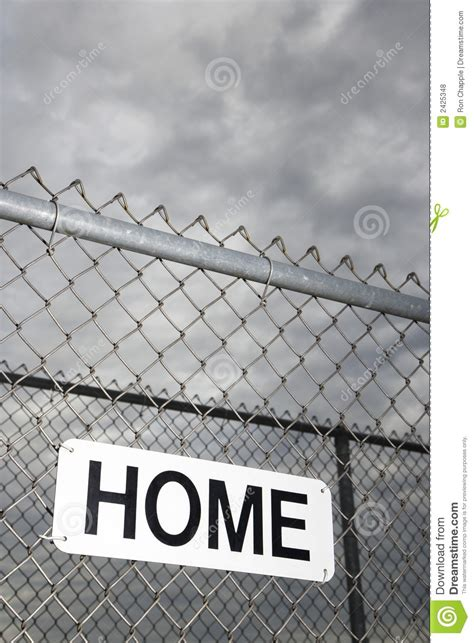 home sign on metal fence royalty free stock photos