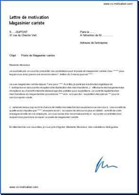 Lettre De Motivation De Cariste lettre de motivation magasinier cariste