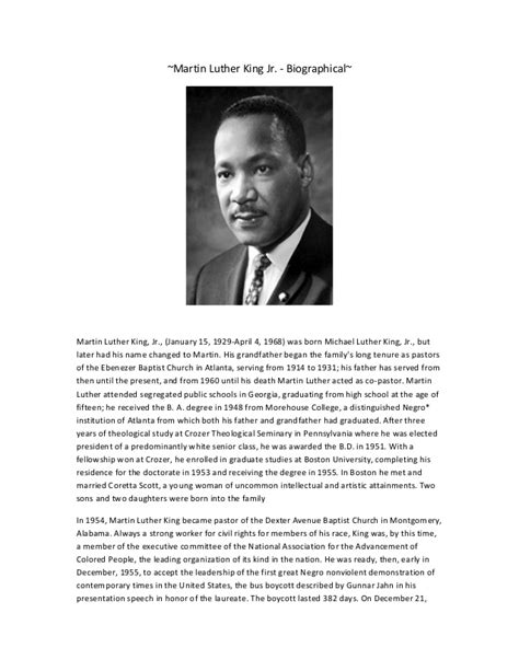 Martin Luther King Jr Biography Essay by Martin Luther King Biography Christine Tsamili