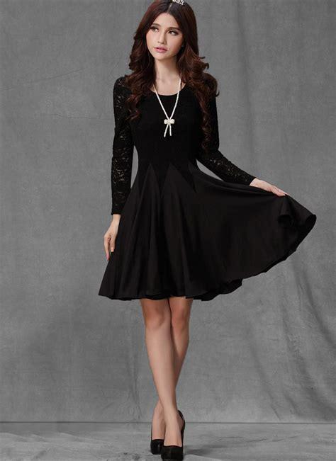 long sleeved black lace chiffon dress  black dress