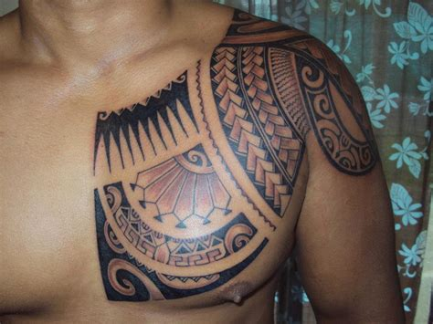 polynesian chest tattoo on chest