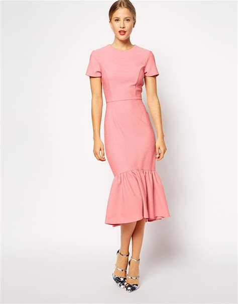 dress c lyst asos pencil dress with peplum hem in texture in pink