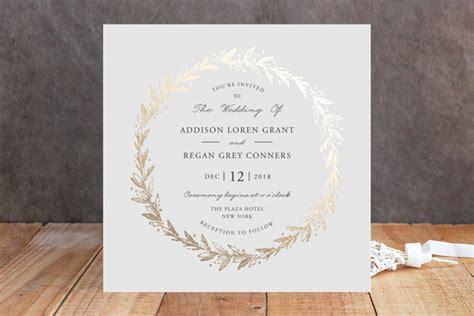 foil pressed wedding invites winter wreath foil wedding invitations by oma n ramkhelawan