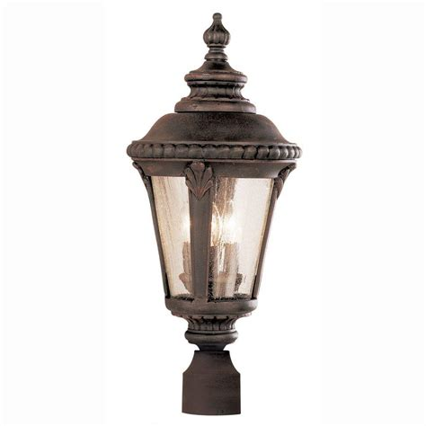 Bel Air Lighting 3 Light Outdoor Post Bel Air Lighting Way 3 Light Outdoor Rust Post Top Lantern With Seeded Glass 5047 Rt