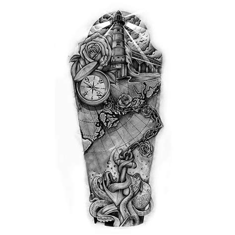 full custom tattoo nautical sleeve design dessin