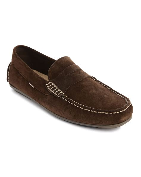 hilfiger loafers hilfiger brown suede alpha loafers in brown for
