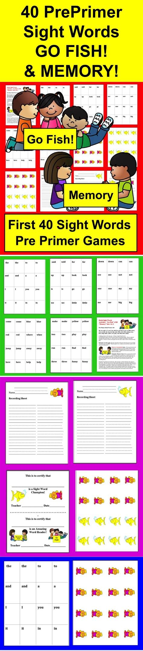 dolch sight word printable memory games sight word games go fish and memory sets 1 2