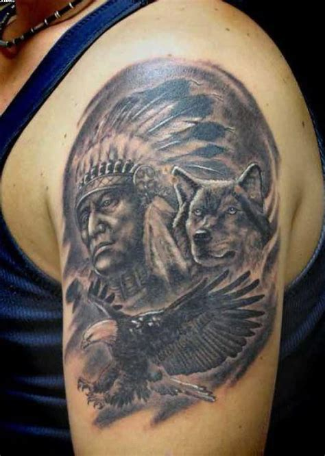 indian chief and wolf tattoo on left shoulder tattoobite com