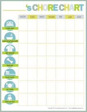 free printable weekly chore charts