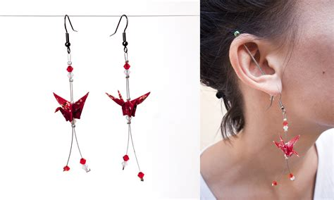 origami crane earrings by walking cripple on deviantart