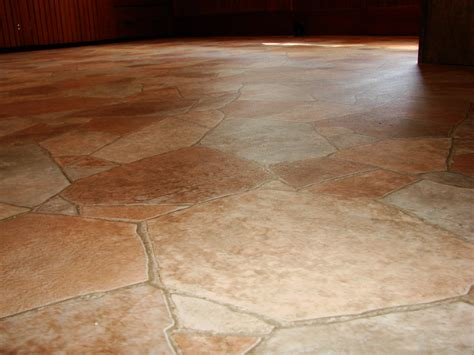 classy stone floor tiled with linoleum flooring covered
