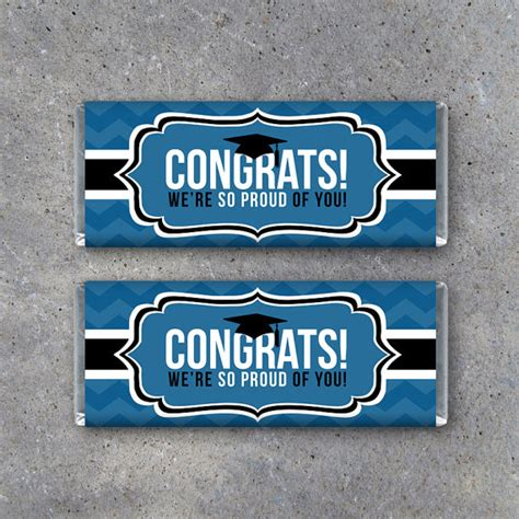 free printable graduation bar wrappers templates graduation congrats bar wrapper in blue instant