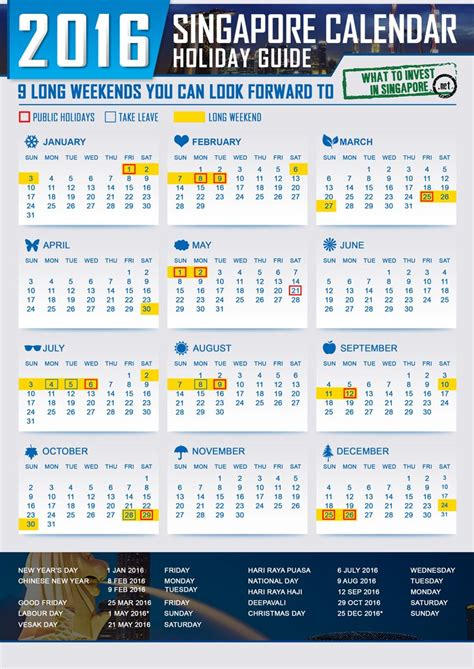 printable calendar singapore 9 long weekends in 2016 you can look forward to plan for
