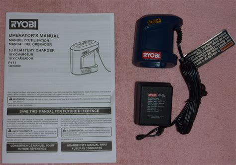 ryobi 18v battery charger manual ryobi one p111 18v pocket charger for p100 new free